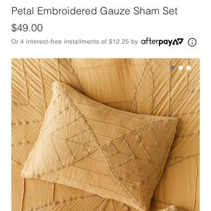 Yellow/gold embroidered urban outfitters shams!